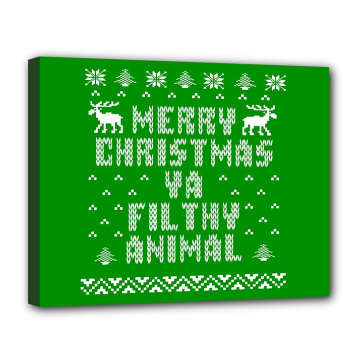 Ugly Christmas Ya Filthy Animal Canvas 14  x 11