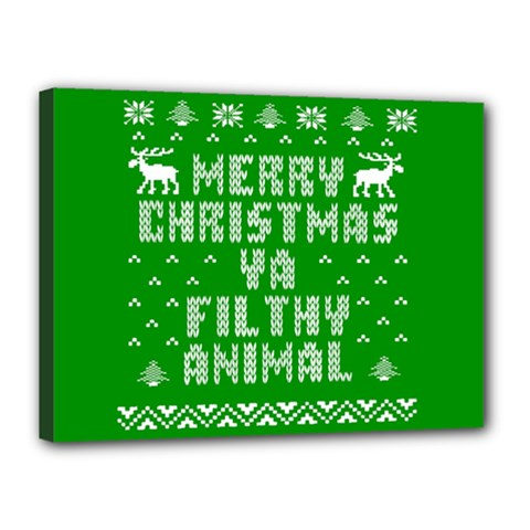 Ugly Christmas Ya Filthy Animal Canvas 16  x 12
