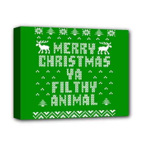 Ugly Christmas Ya Filthy Animal Deluxe Canvas 14  x 11