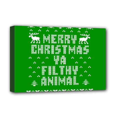 Ugly Christmas Ya Filthy Animal Deluxe Canvas 18  x 12