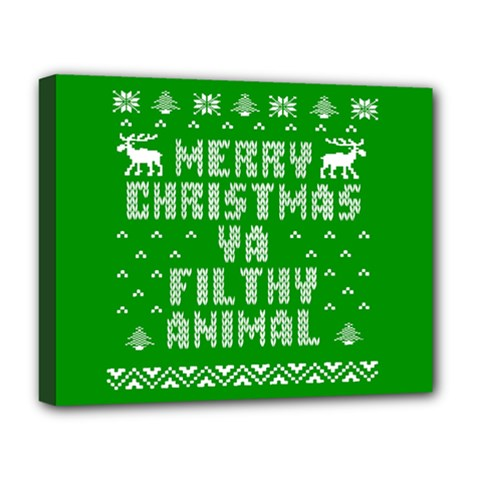 Ugly Christmas Ya Filthy Animal Deluxe Canvas 20  x 16