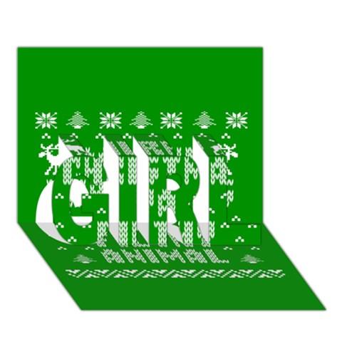 Ugly Christmas Ya Filthy Animal GIRL 3D Greeting Card (7x5)