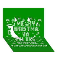 Ugly Christmas Ya Filthy Animal Heart 3D Greeting Card (7x5)