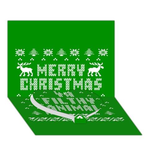 Ugly Christmas Ya Filthy Animal Heart Bottom 3D Greeting Card (7x5)