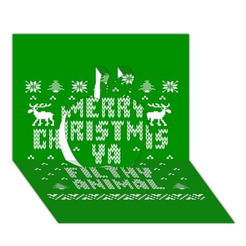 Ugly Christmas Ya Filthy Animal Apple 3D Greeting Card (7x5)