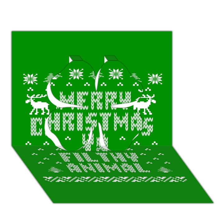 Ugly Christmas Ya Filthy Animal Clover 3D Greeting Card (7x5)