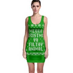 Ugly Christmas Ya Filthy Animal Sleeveless Bodycon Dress
