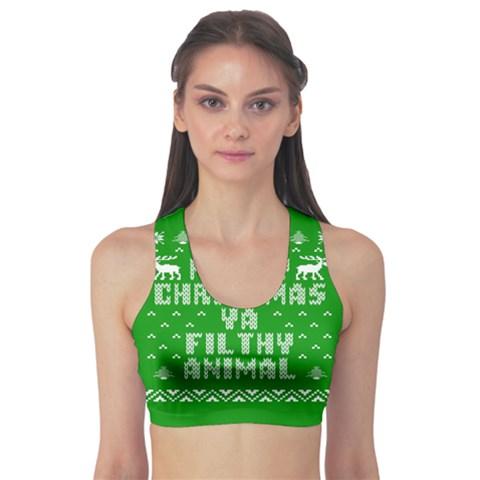 Ugly Christmas Ya Filthy Animal Sports Bra