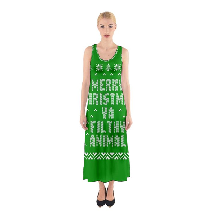 Ugly Christmas Ya Filthy Animal Sleeveless Maxi Dress