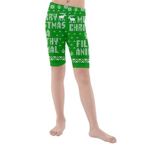 Ugly Christmas Ya Filthy Animal Kids  Mid Length Swim Shorts