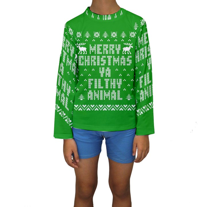 Ugly Christmas Ya Filthy Animal Kids  Long Sleeve Swimwear