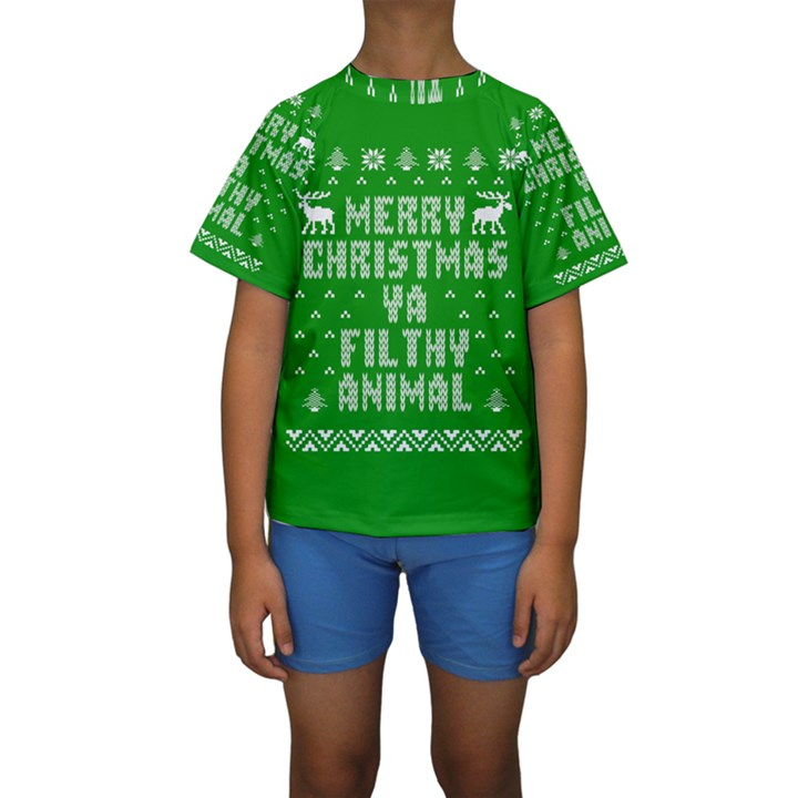 Ugly Christmas Ya Filthy Animal Kids  Short Sleeve Swimwear