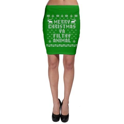 Ugly Christmas Ya Filthy Animal Bodycon Skirt