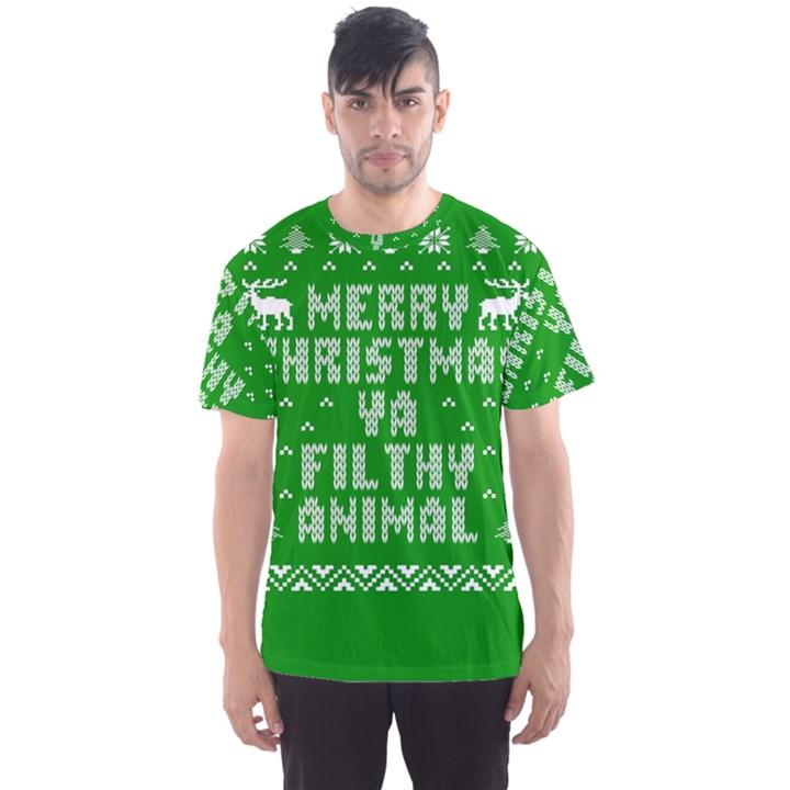 Ugly Christmas Ya Filthy Animal Men s Sport Mesh Tee