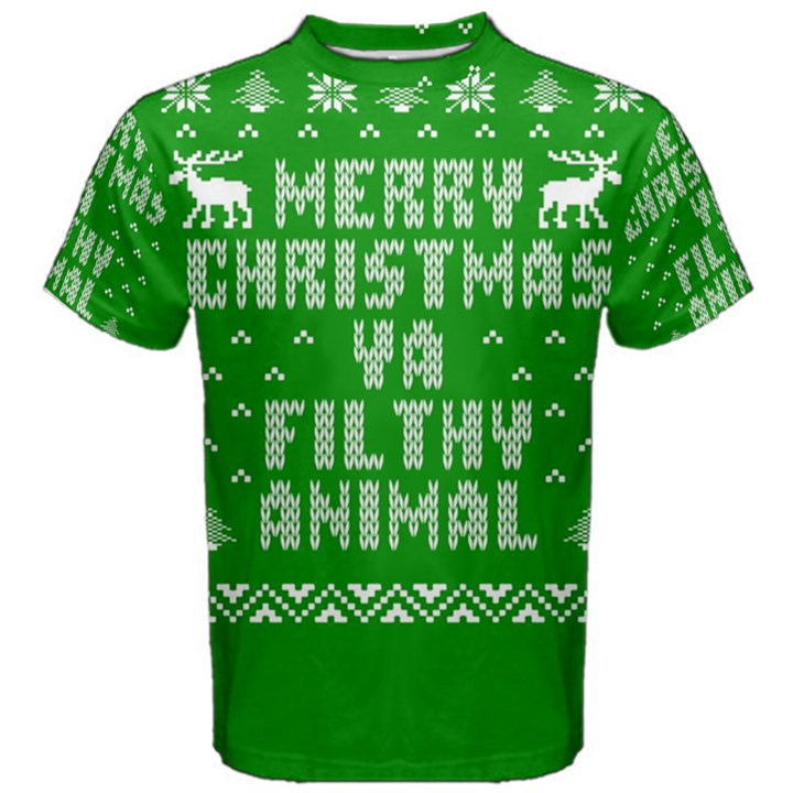 Ugly Christmas Ya Filthy Animal Men s Cotton Tee