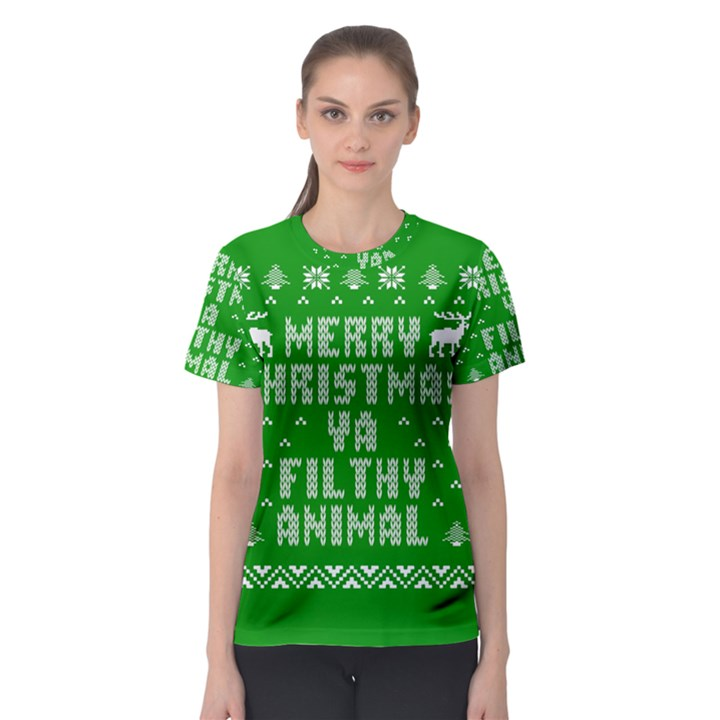 Ugly Christmas Ya Filthy Animal Women s Sport Mesh Tee