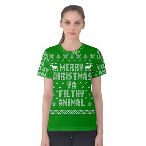 Ugly Christmas Ya Filthy Animal Women s Cotton Tee