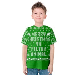 Ugly Christmas Ya Filthy Animal Kids  Cotton Tee