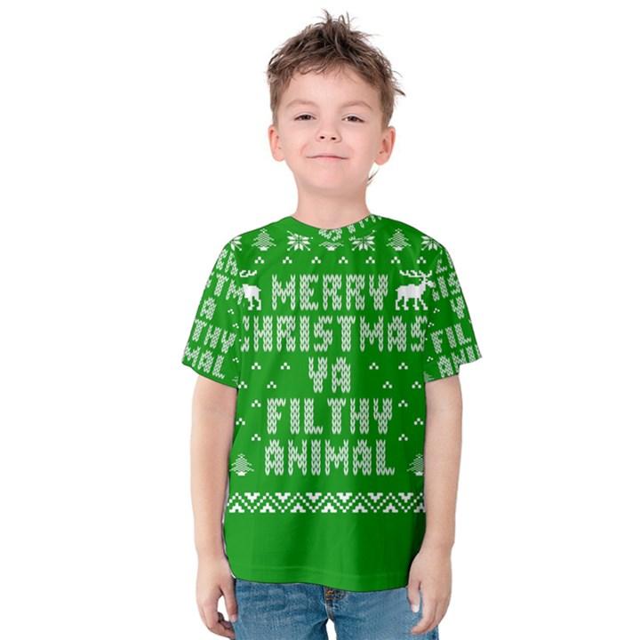 Ugly Christmas Ya Filthy Animal Kids  Cotton Tee