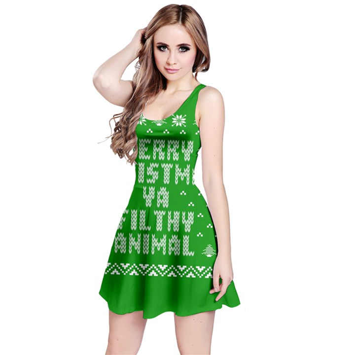 Ugly Christmas Ya Filthy Animal Reversible Sleeveless Dress