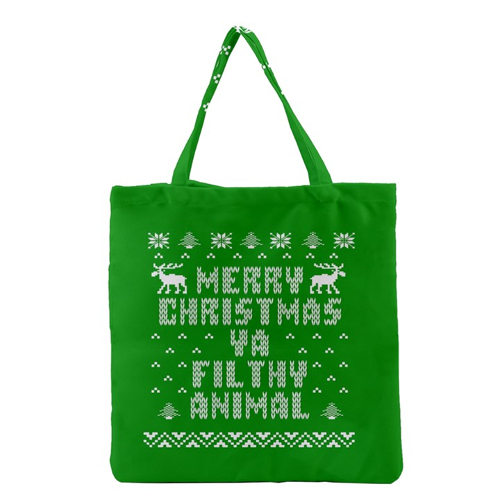Ugly Christmas Ya Filthy Animal Grocery Tote Bag