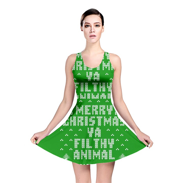 Ugly Christmas Ya Filthy Animal Reversible Skater Dress