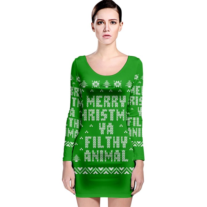 Ugly Christmas Ya Filthy Animal Long Sleeve Bodycon Dress