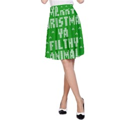 Ugly Christmas Ya Filthy Animal A Line Skirt
