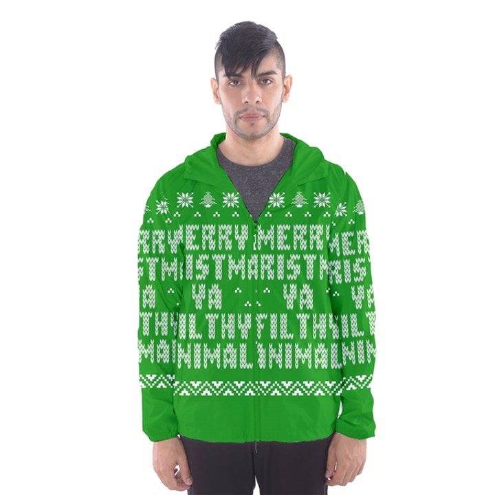 Ugly Christmas Ya Filthy Animal Hooded Wind Breaker (Men)