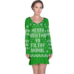 Ugly Christmas Ya Filthy Animal Long Sleeve Nightdress