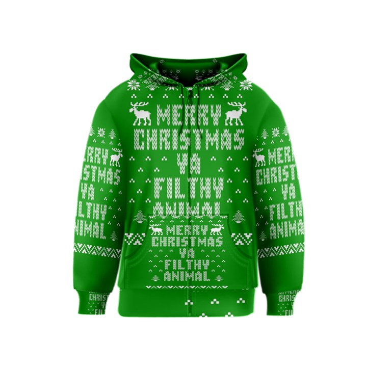 Ugly Christmas Ya Filthy Animal Kids  Zipper Hoodie