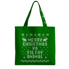 Ugly Christmas Ya Filthy Animal Zipper Grocery Tote Bag