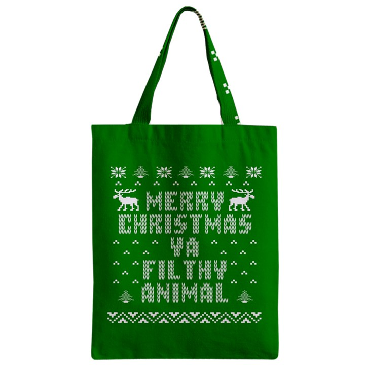 Ugly Christmas Ya Filthy Animal Zipper Classic Tote Bag