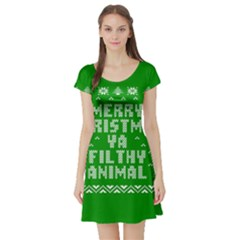 Ugly Christmas Ya Filthy Animal Short Sleeve Skater Dress