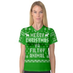 Ugly Christmas Ya Filthy Animal Women s V-Neck Sport Mesh Tee