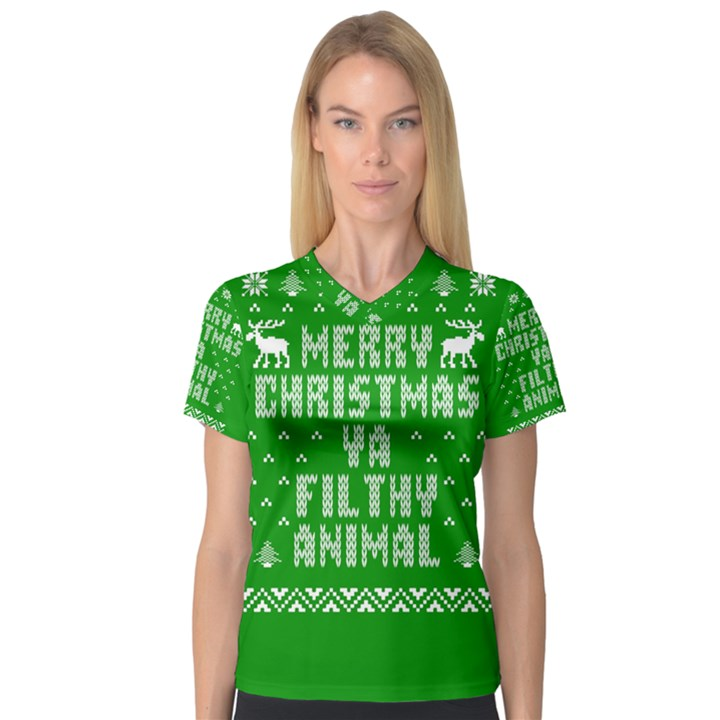 Ugly Christmas Ya Filthy Animal Women s V-Neck Sport Mesh Tee