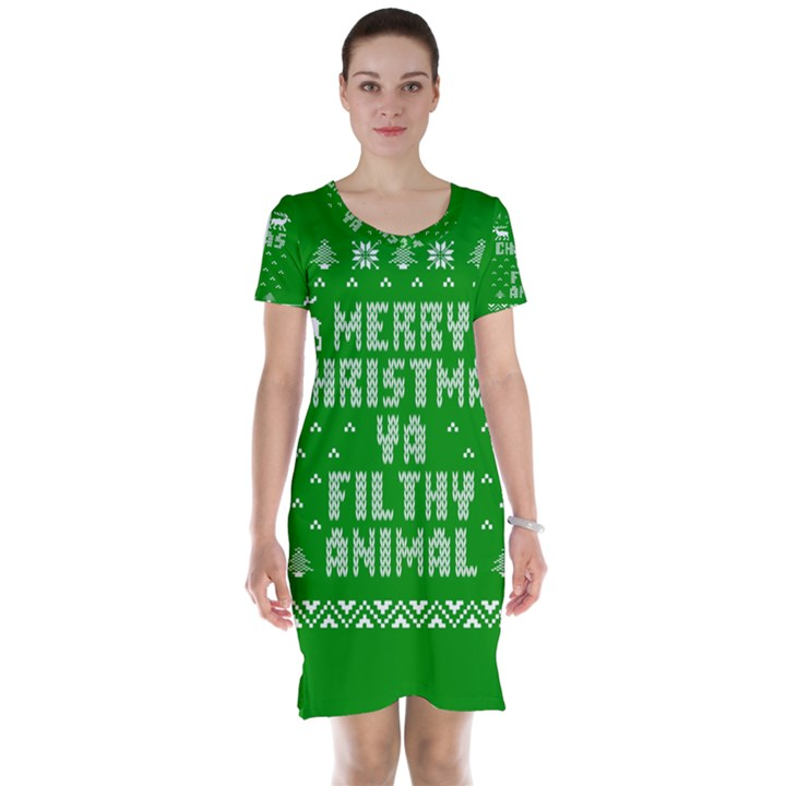 Ugly Christmas Ya Filthy Animal Short Sleeve Nightdress