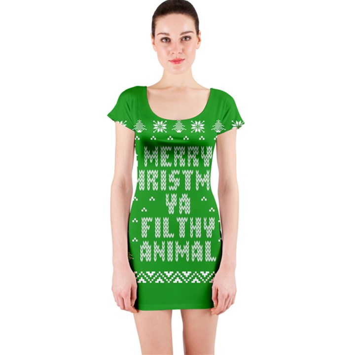 Ugly Christmas Ya Filthy Animal Short Sleeve Bodycon Dress