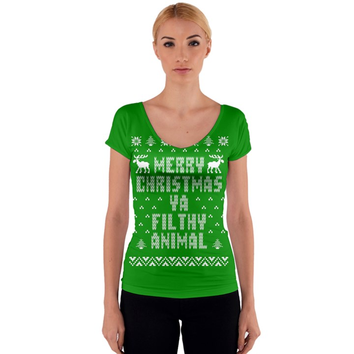Ugly Christmas Ya Filthy Animal Women s V-Neck Cap Sleeve Top