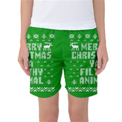 Ugly Christmas Ya Filthy Animal Women s Basketball Shorts