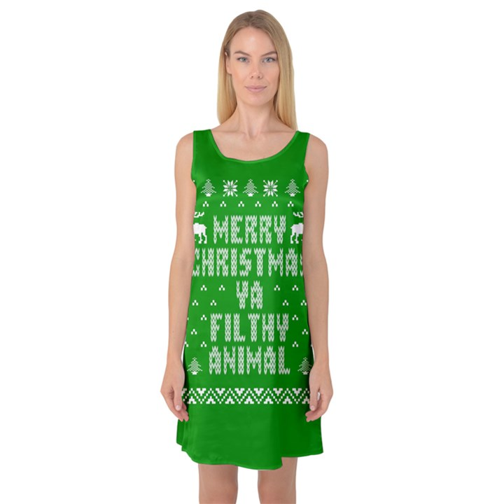 Ugly Christmas Ya Filthy Animal Sleeveless Satin Nightdress