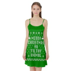 Ugly Christmas Ya Filthy Animal Satin Night Slip