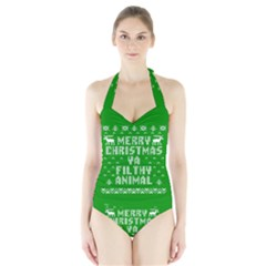 Ugly Christmas Ya Filthy Animal Halter Swimsuit
