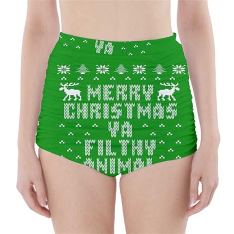 Ugly Christmas Ya Filthy Animal High-Waisted Bikini Bottoms