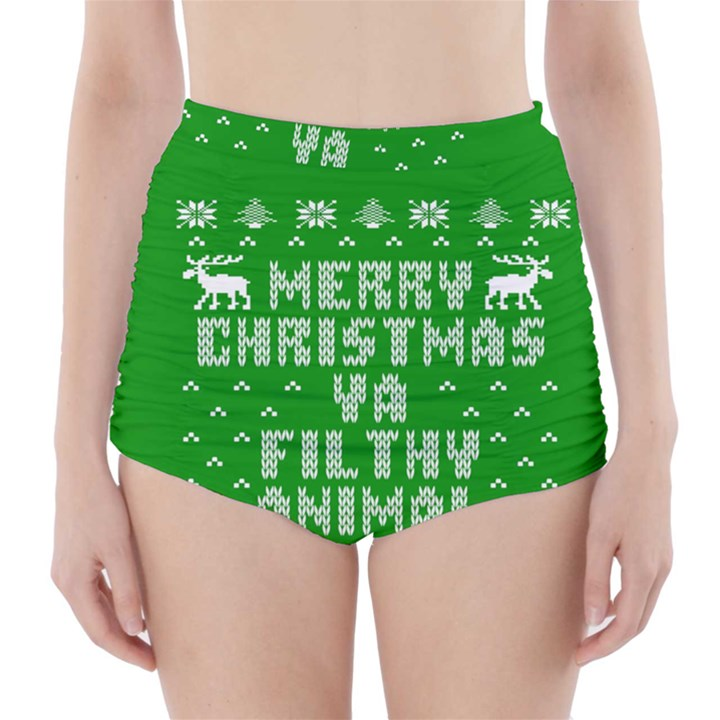 Ugly Christmas Ya Filthy Animal High-Waisted Bikini Bottoms