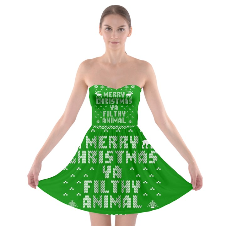 Ugly Christmas Ya Filthy Animal Strapless Bra Top Dress