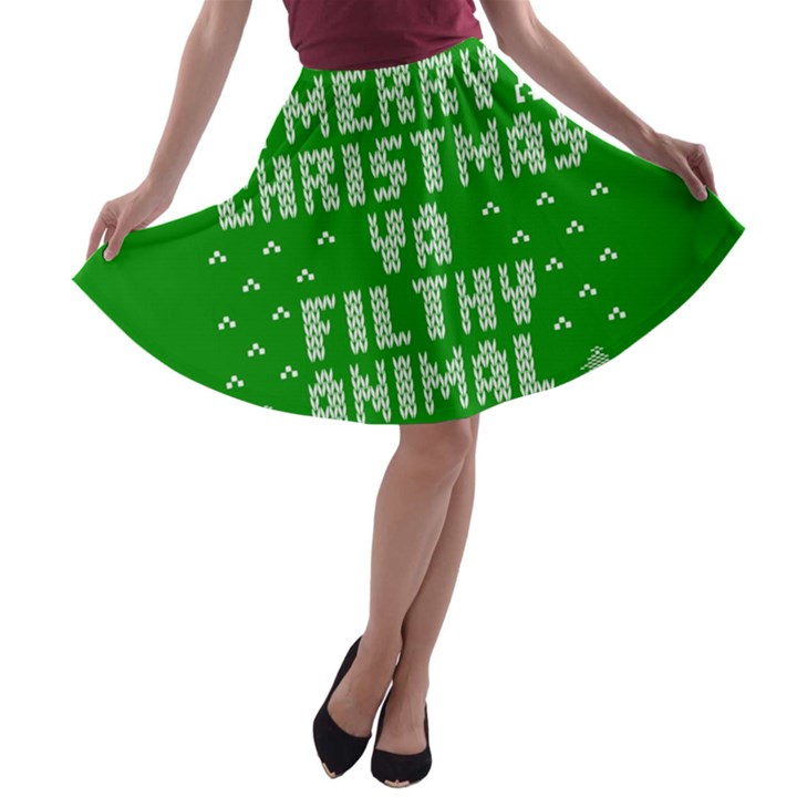 Ugly Christmas Ya Filthy Animal A-line Skater Skirt