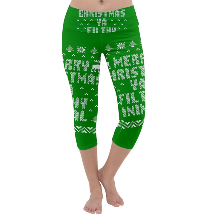 Ugly Christmas Ya Filthy Animal Capri Yoga Leggings
