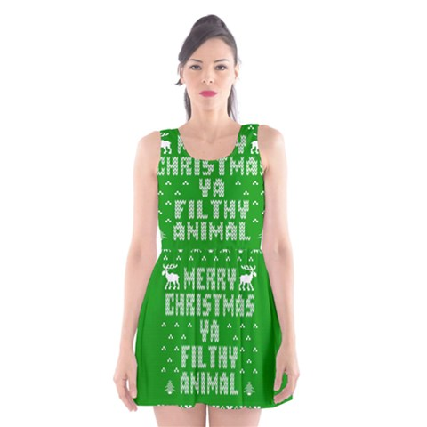Ugly Christmas Ya Filthy Animal Scoop Neck Skater Dress