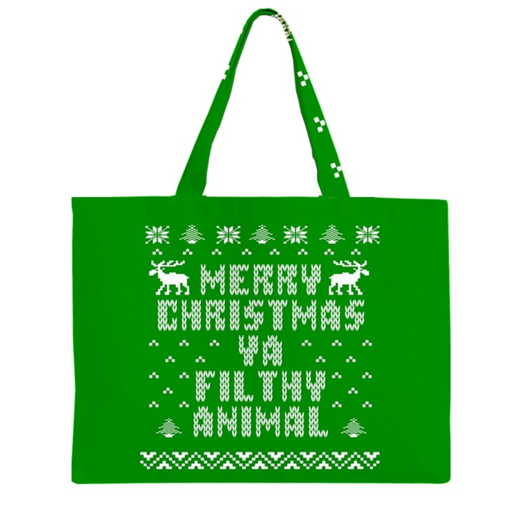 Ugly Christmas Ya Filthy Animal Large Tote Bag